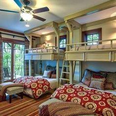Kids will love having slumber parties in their bunkroom