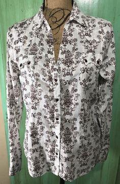 Women's Panhandle Slim Shirt Western Rodeo Pearl Snaps Lightweight Floral Sz L    eBay