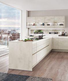 Helle Küche, Weiß, New York Loft, Großstadt, Mit Einzigartigem Ausblick