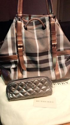 1864d32a1e9c Auth. Burberry Nova Check Tote handbag purse blue gray brown with makeup bag