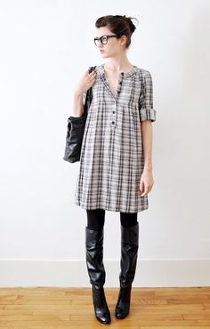 black and white open plaid.  I like the loose fit, almost like a baby-doll.  sweet.