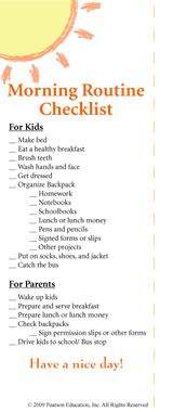 Morning Routine Checklist-- perfect for kids and parents on school mornings!