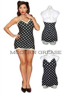 Black & White Swim Dress | Vintage Styles | Bettie Page Swimwear | Modern Grease Clothing