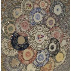 Table ou plateau picassiette mosaique grand bouquet d'assiettes