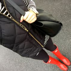 IG @mrscasual <click through to shop this look> black excursion vest. Striped turtleneck. Red Hunter boots
