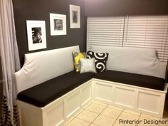 How To: Custom Kitchen Seating – Pinterior Designer Corner Banquette, Corner Bench Seating, Kitchen Banquette, Kitchen Seating, Banquette Seating, Kitchen Benches, Kitchen Nook, Kitchen Tables, Diy Kitchen