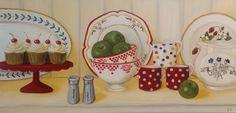 Original Oil Painting of Vintage Plates Bowls by SimplePleasureArt