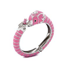 Silver plated elephant cuff, featuring pink enamel and crystallized details