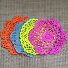 Neon crochet coasters . Upcycled vintage crochet hand dyed with eco friendly paint from lilijo.com.au