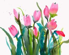 Pink Tulips by Linda Hammelman - Etsy - 18.00