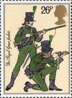 British Army Uniforms 26p Stamp (1983) Riflemen, 95th Rifles (The Royal Green Jackets) (1805)
