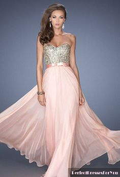 be2bdb834624 La Femme long prom dress- strapless prom dress- sweetheart neckline prom  dress- pink prom dress- chiffon prom dress- satin bow belt- beaded bodice  evening ...