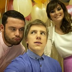 Danny Miller (Aaron Livesy), Ryan Hawley (Robert Sugden) & Louise Marwood (Chrissie White) (Summer Fate 2015)