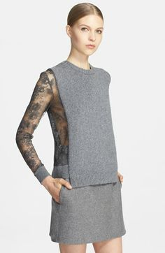 Valentino Lace Inset Wool & Cashmere Sweater available at #Nordstrom