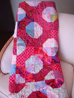 LOVE and KISSES--This Kaffe Fassett Inspired Red and Pink quilt