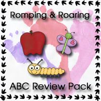 Free Romping & Roaring ABC Review Pack - Review of the letters A, B, C with coloring, writing, finger puppets & games.