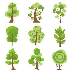 Tree logo cartoon decorative icons Vector   Free Download