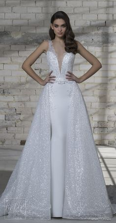 Love by Pnina Tornai for Kleinfeld Wedding Dress Collection 2019   Sleeveless sparkly bridal gown with illusion v-neck   A-line Wedding gown with detachable skirt #weddingdress #weddingdresses #bridalgown #bridal #bridalgowns #wedding