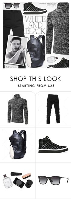 """White&Black"" by pokadoll ❤ liked on Polyvore featuring Jimmy Choo, Kenneth Cole, Ray-Ban, men's fashion, menswear, polyvoreeditorial and polyvoreset"