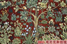 William morris de boom van het leven, size140*107cm, rode achtergrond, muur opknoping wandtapijten, antieke