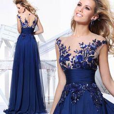 Blue Evening Wedding Dress Bridal Gown Custom Size: 2 4 6 8 10 12 14 16 18+++
