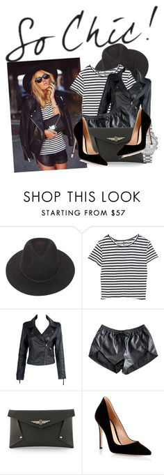 """How to: Wear leather shorts"" by vallle ❤ liked on Polyvore featuring Brixton, Enza Costa, Finders Keepers, Toi Et Moi, Gianvito Rossi and Michael Kors"