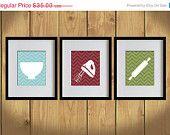ON SALE Kitchen Art Print - Chevron, Baking Utensils, Zigzag Stripes - Set of 3 - 8X10 - White, Bondi Blue, Burgundy Red, Olive Green- No.