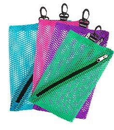 Vaultz Mesh Storage Bags 4 Pack Assorted Colors and Sizes (VZ03483)