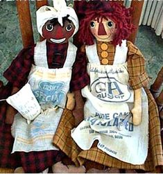 """""""This is another of my Top Selling Doll Patterns, and one of my earliest ones. The two dolls are nice, big dolls with real weight and substance to them. They make up beautifully, and would look so good on a vintage bed, on a sofa, an old rocking chair, or even on a bench. The dolls wear homespun dresses, bloomers, and Belindy wears a muslin head wrap. She is also holding in her lap, a little sack of flour (pattern included). Finally their aprons are made of feed sacks. I used real, vintage feed Pattern Pictures, Pattern Images, Old Rocking Chairs, Primitive Doll Patterns, Primitive Crafts, Wool Felt Fabric, Raggedy Ann And Andy, Sewing Dolls, Doll Clothes Patterns"""