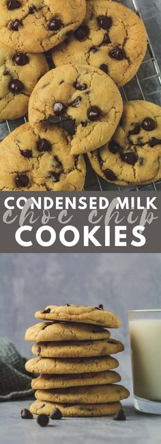 Condensed Milk Chocolate Chip Cookies Incredibly thick soft and chewy cookies that are made with sweetened condensed milk and stuffed full of chocolate chips! - Milk - Ideas of Milk Best Cookie Recipes, Baking Recipes, Dessert Recipes, Milk Chocolate Chip Cookies, Chocolate Chips, Chocolate Brownies, White Chocolate, Condensed Milk Cookies, Crack Crackers