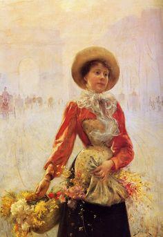 Julius Le Blanc Stewart (American-born French artist, 1855-1919) Flower Girl 1890