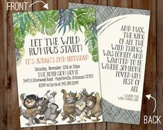 Where the Wild Things Are Invitation birthday party baby shower