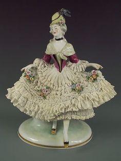 Antique German Ens Dresden Lace Lady Porcelain Flowers Figurine