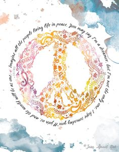 Peace and Love // Symbols, signs & quotes // Imagine all the people living life in peace - John Lennon Paz Hippie, Hippie Peace, Hippie Love, Hippie Art, Hippie Style, Happy Hippie, Boho Style, John Lennon, Namaste