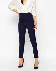 361ae32f292c Missguided Wrap Front Highwaisted Cigarette Trouser at asos.com Pantalon  Cigarette