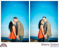 Unique engagement photos on boardwalk. Beach engagement photo. Colorful engagement photo. Asbury Park engagement photos. Full moon at sunset engagement photo. Photo from Carly + Doug collection by Sherry Sutton Photography (www.sherrysutton.com).
