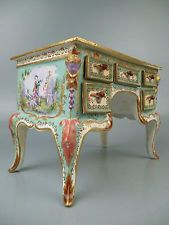 Antique French Faience Pottery Figural Roccoco Miniature Dressing Table