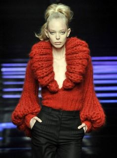 Fantastic Red Knitted Sweater and Black Pants