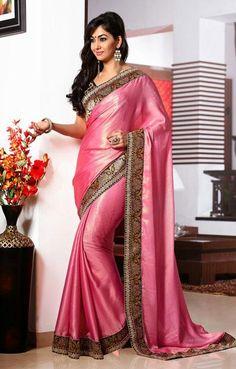 USD 107.24 Pink Lace Work Chiffon Party Wear Saree     36952