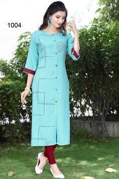 Sky-Blue-Front-Slit-Long-Sleeve-Rayon-Straight-Office-Wear-Kurti-1004-14460  Catalog No : 4305  WWW.LKFABKART.COM  #wholesalekurtis #wholesalekurtisupplier #kurtisdealers #kurtiexporters #kurtimanufacturer #kurtistockist #stylish #officewear #trendy #gorgeous #kurti #worldwide #lkfabkart