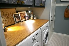 Simple wood plank on top of washer-dryer to make counter space    HHHHMMM? Should I have hubby take out the pedestals so I can have a shelf? idea, rubber floor, plywood, laundry rooms, hous, room countertop, laundri room, danish oil, floor mats