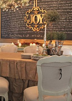 gold JOY... @Beth J Carlson  you could cover a plywood dining table with a cute cute burlap table cloth like this one