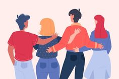 Download free Flat youth day - people hugging together vector | Freepik People Hugging, Friends Hugging, Old People Cartoon, Youth Day, Flat Illustration, Character Design References, Young People, Book Art, Vector Free