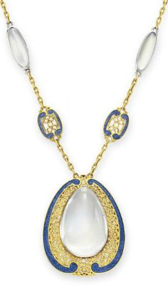 A MOONSTONE, ENAMEL AND GOLD NECKLACE, BY LOUIS COMFORT TIFFANY, TIFFANY & CO. Suspending a pendant set with a drop-shaped cabochon moonstone within a blue enamel and sculpted gold surround, to the neckchain set with an alternating series of cabochon moonstones and blue enamel plaques, mounted in gold and platinum, circa 1910, 18 ins. By Louis Comfort Tiffany, signed Tiffany & Co.