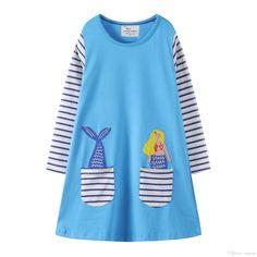 173ff058e94 America Pocket Striped Floral Animal vetements pour enfants Kids Girls Dress  Children Girls Knee-length A-line Cotton Baby Girls Dress
