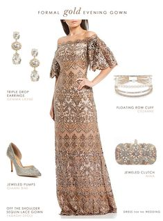 Formal evening outfit with gold gown and accessories for mother of the bride or black tie wedding guest #weddingattire Black Tie Wedding Attire, Black Tie Wedding Guests, Black Tie Attire, Wedding Outfits, Mother Of The Bride Fashion, Gold Gown, Mermaid Evening Dresses, Fall Dresses, Bride Dresses