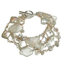 Multi-Strand Sea Glass & Pearl Bracelet - One Of A Kind, Handmade - 7.5 Inches Long - 6 Strands of Sterling Silver & Rose Gold Filled Chain - 8mm Square Freshwater Cultured Pearls - 3-4mm Freshwater C