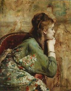 Alfred Stevens (Belgian Painter, 1823-1906)  Kimono ___ I like the light wash of the background.