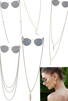 eyeglass chain, glasses chain, eyeglass holder with cool zig zag charm, eyecatching and stylish look - featured by INSTYLE Germany Diy Glasses, Fashion Eye Glasses, Eyeglass Holder, Sunglasses Accessories, Delivery, Rose Gold, Note, Sterling Silver, Lanyards