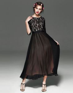 Black Lace Paneled Half Sleeve Chiffon A Line Maxi Dress